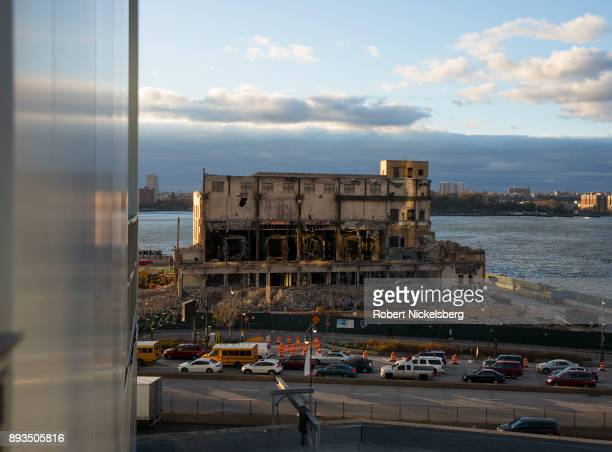 A building is torn down along the West Side Highway and the Hudson River November 22 2017 in New York City High rise development is permitted in this...