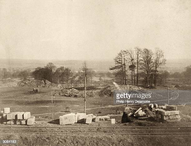 Building materials for the gardens of the new Crystal Palace, which is being reconstructed in Sydenham, south London, from the materials of the...
