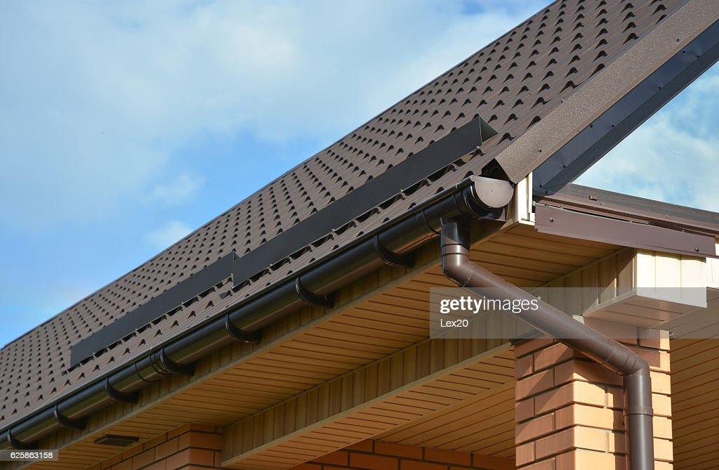 Building Modern House Construction With Rain Gutter System Foto De Stock Getty Images