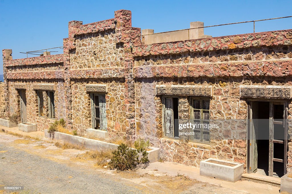 building of a barracks abandoned in Cartagena, Spain : Stock Photo