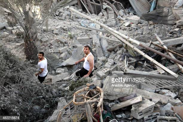 Building of Alashy family is destroyed by an Israeli airstrike within the 'Operation Protective Edge', killed 205 people and wounded 1530 others, in...