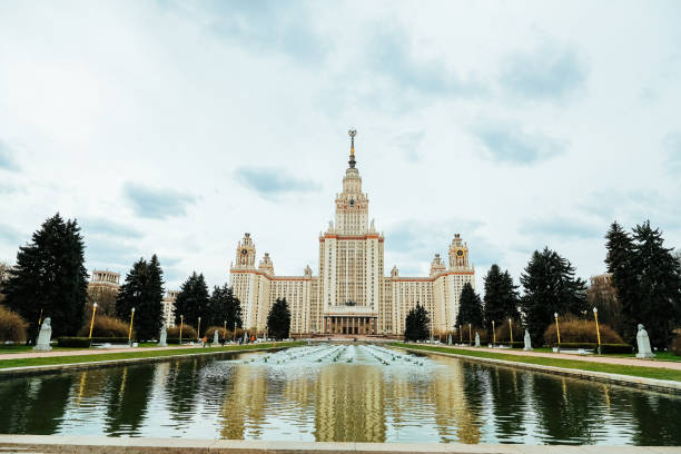 Building Of Moscow State University. Most Famous Buildings In World. Sights Of Russia.