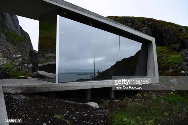 Building of rest area at Bukkekjerka, Andøya island, Norway