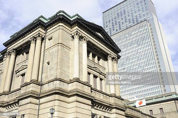 Building of the Bank of Japan is seen in the middle of buildings of the financial and business district of Marunouchi and Otemachi in Tokyo downtown...