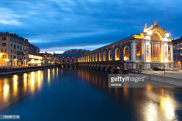 building of the driving forces - geneva switzerland stock pictures, royalty-free photos & images
