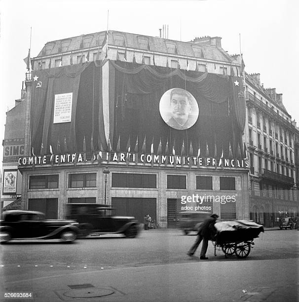 Building of the French Communist Party in Paris after the death of Joseph Stalin In March 1953
