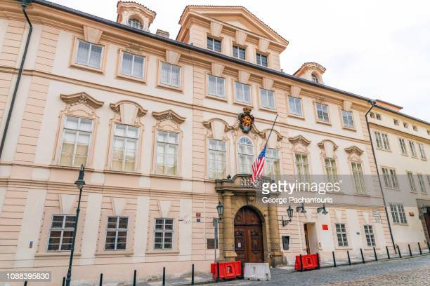 building of the usa embassy in prague, czech republic - us embassy stock pictures, royalty-free photos & images