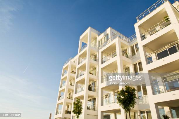 building on sunny day - malmo stock pictures, royalty-free photos & images