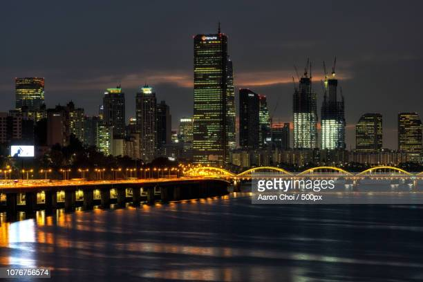 63 building over han river at night