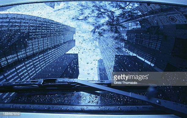 Building reflection in automoblie windshield