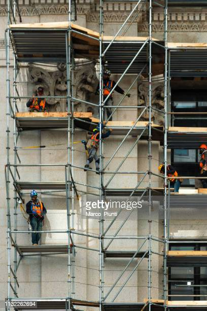 building restoration in new york, manhattan - restoration style stock pictures, royalty-free photos & images