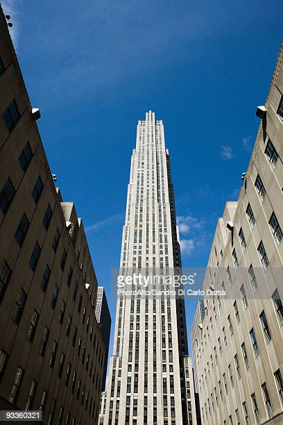 GE building, Rockefeller Center, Manhattan, New York City, low angle view