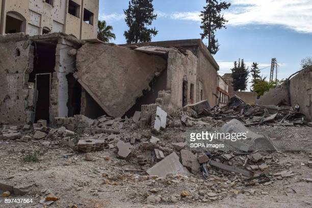 Building seen being destroyed by the shelling The city of Douma and the town of Mesraba in the countryside of Damascus were hit with highexplosive...