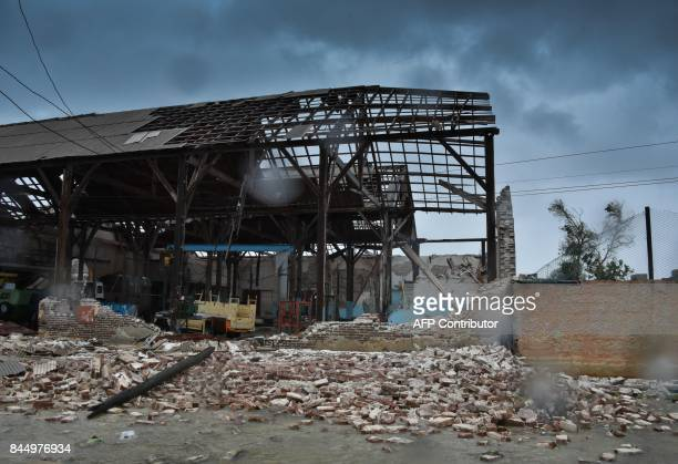 A building severely damaged by the passage of Hurricane Irma in Caibarien Villa Clara province 330km east of Havana on September 9 2017 Irma's blast...