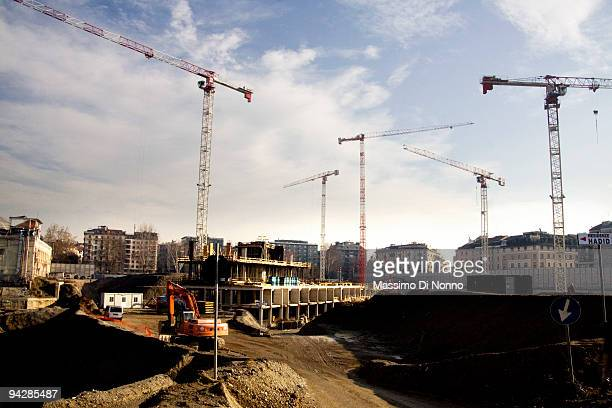 Building site of CityLife on December 11 2009 in Milan Italy CityLife is the redevelopment project of the historic disctrict of Milan Fair designed...