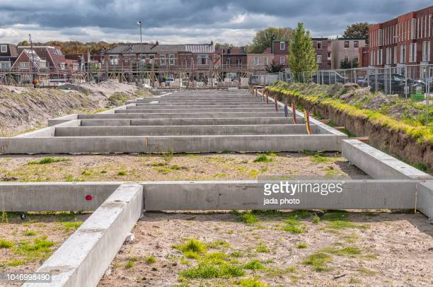 building site with a cinder blocks - pyramid shapes around the house stock pictures, royalty-free photos & images