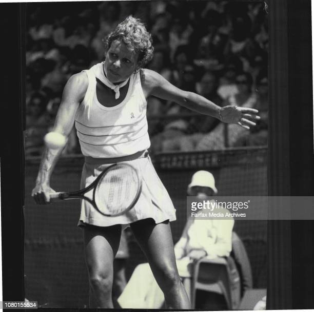 Building society women's open tennis at white city.Evonne Cawley in action during her game against Chris O'Neil. November 24, 1982. .
