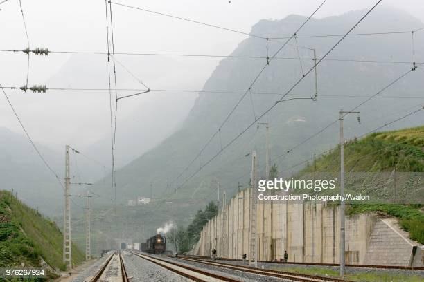 Building the new railway between Jinzhou and Qinghuangdao Huangcao station and tunnel August 2005