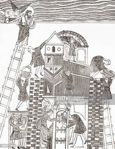 Building the Tower of Babel after a Saxon manuscript From Cassell's History of England published c1901