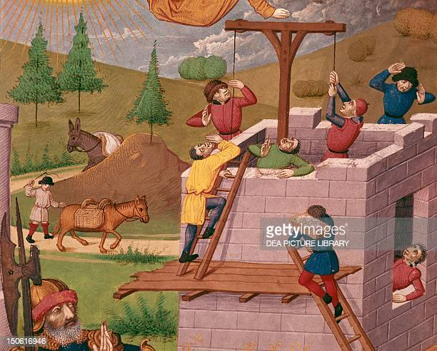 Building the Tower Of Babylon miniature from Chronicle of Bouquechardiere manuscript folio 181 recto 1450 Detail