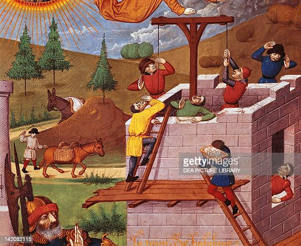 Building the Tower Of Babylon miniature from The Bouquechardiere Chronicle manuscript folio 181 recto 15th Century