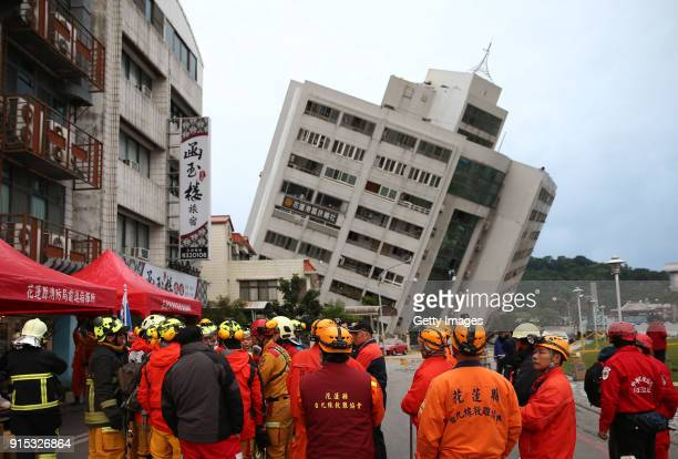 A building tilts to one side after a 65magnitude earthquake on February 7 2018 in Hualien County Taiwan Aftershocks continue to rattle Taiwan after a...