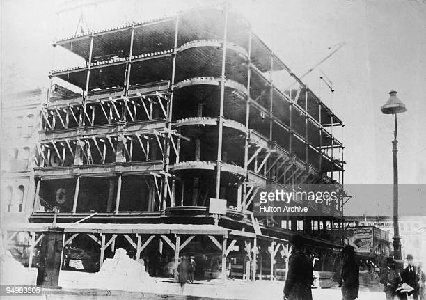 A building under construction on Van Buren Street Chicago 30th September 1894 It is being rendered fireproof by placing tiles around the steel frame