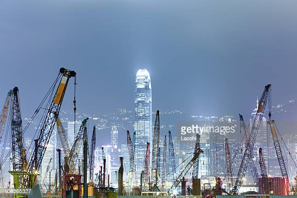 building under construction - crane stock pictures, royalty-free photos & images