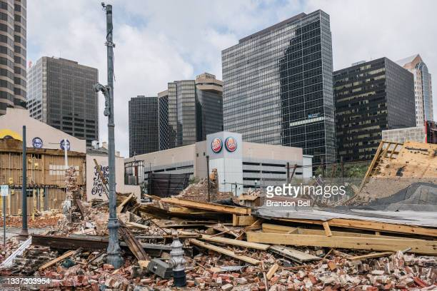 Building was destroyed after Hurricane Ida passed through on August 30, 2021 in New Orleans, Louisiana. Ida made landfall as a Category 4 hurricane...