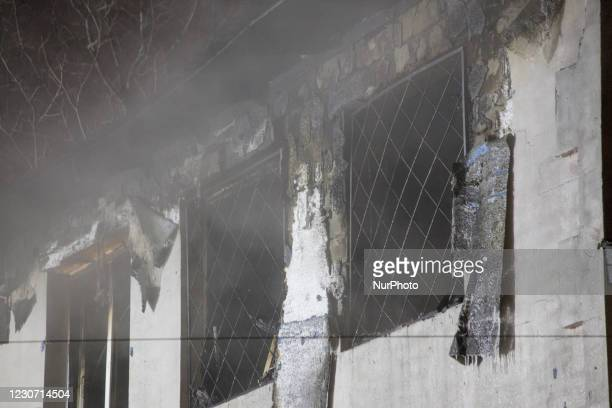 Building windows after fire, in Kharkiv, Ukraine, on January 21, 2021. A fire at a private nursing home in the Ukrainian city of Kharkiv killed 15...