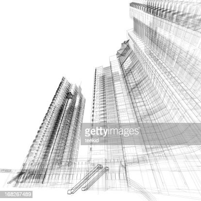 building wireframe stock photo getty images