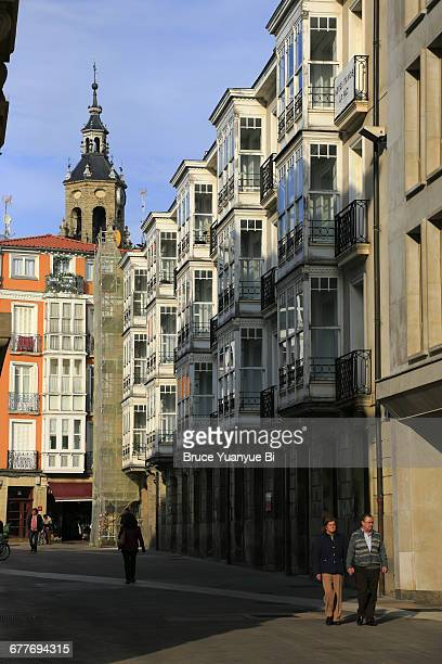 building with bay windows in old town - vitoria spain stock pictures, royalty-free photos & images