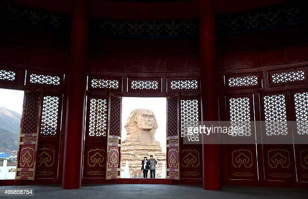 A building with half Chinese temple and half western architecture and a replica of Sphinx are seen in a new studio park on December 3 2015 in...