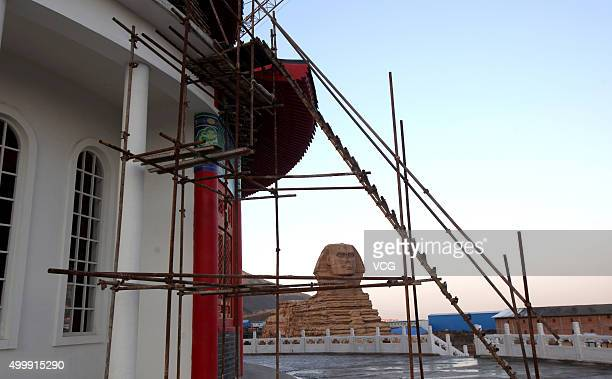 Building with half Chinese temple and half western architecture is under construction in a new studio park on December 3, 2015 in Shijiazhuang, Hebei...