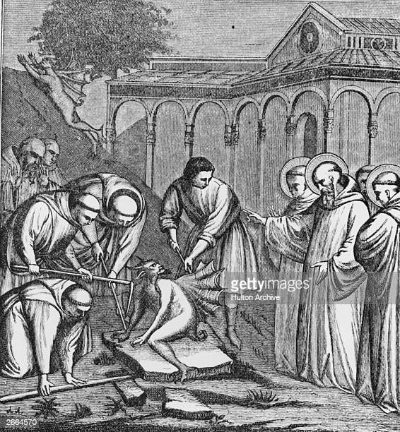 Building work on a chapel for St Benedict of Nursia is interrupted by the devil who places himself on one of the stones intended for the construction...