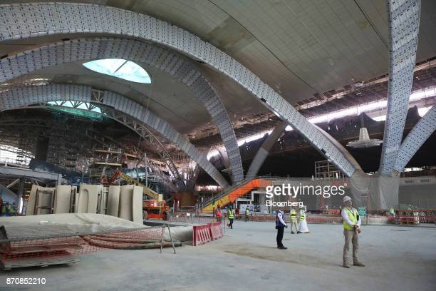 Building work takes place in the departures hall at Abu Dhabi airport's MidField terminal during construction in Abu Dhabi United Arab Emirates on...