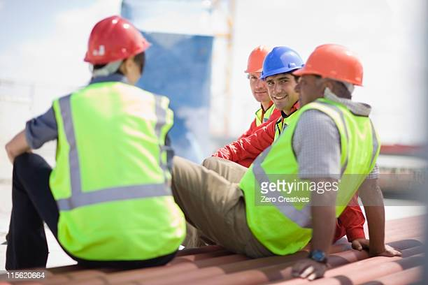 Building workers having a rest