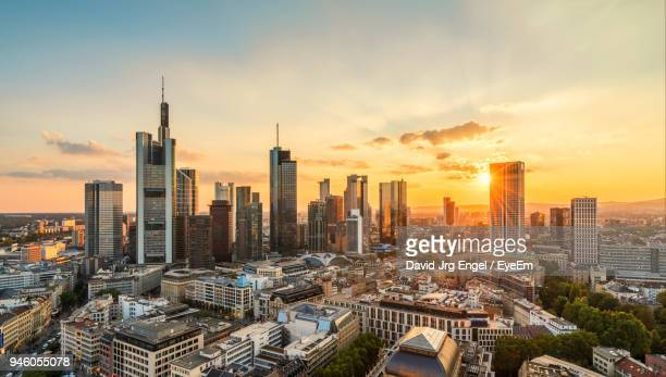 buildings against sky at sunset - frankfurt am main stock-fotos und bilder