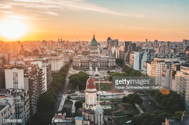 buildings against sky during sunset - buenos aires stock pictures, royalty-free photos & images