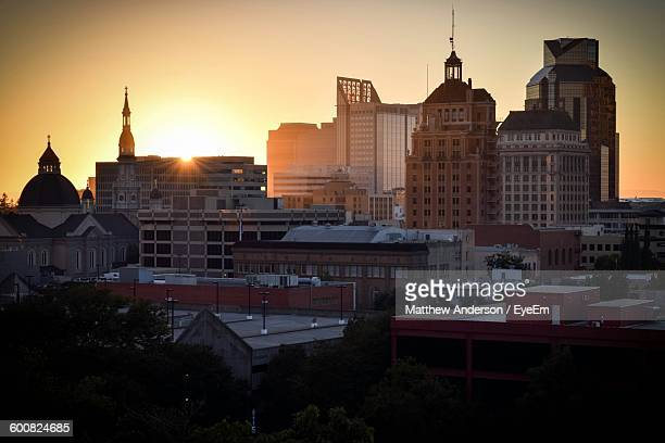 buildings against sky during sunset - sacramento stock pictures, royalty-free photos & images
