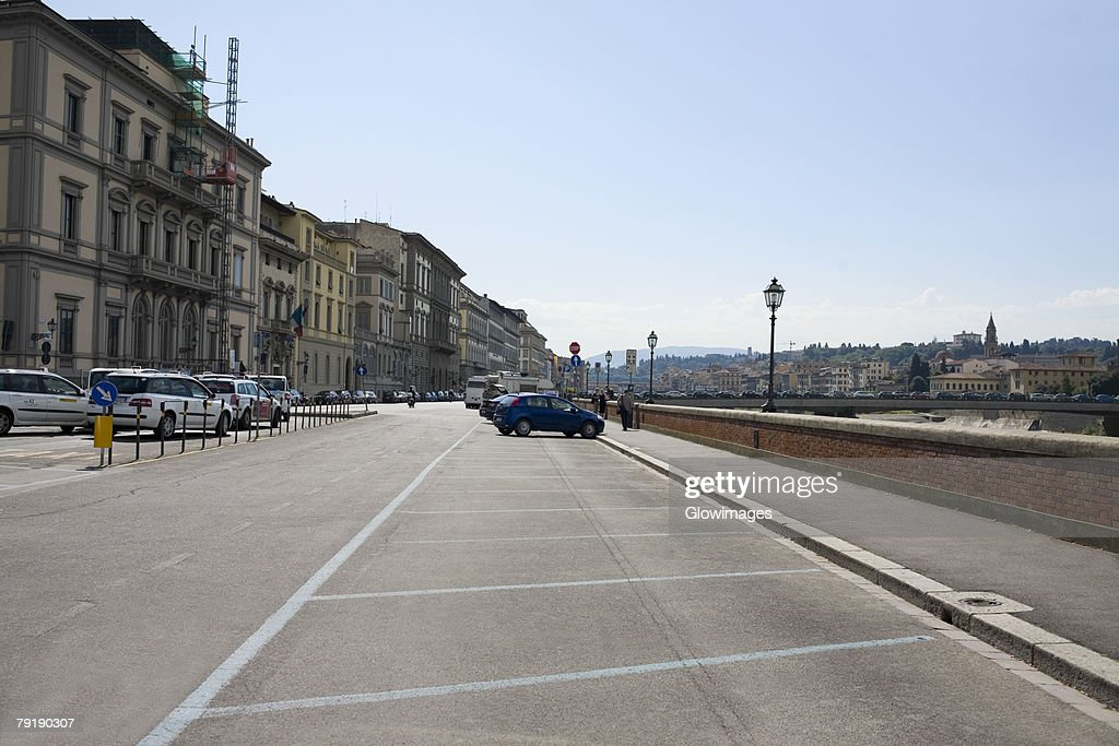 Buildings along a road, Florence, Italy : Foto de stock
