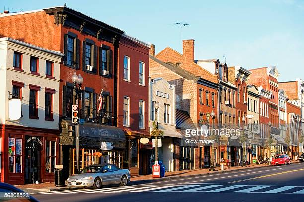 buildings along a road, m street, georgetown, washington dc, usa - ワシントンdc ストックフォトと画像
