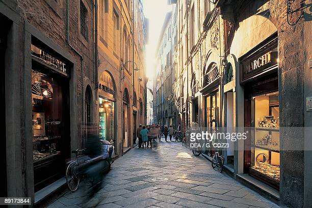 Buildings along a street Fillungo Street Lucca Tuscany Italy