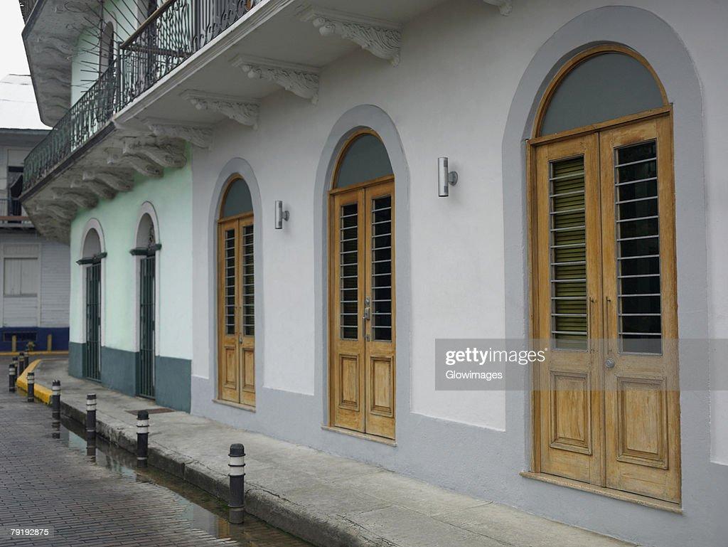 Buildings along a street, Old Panama, Panama City, Panama : Foto de stock