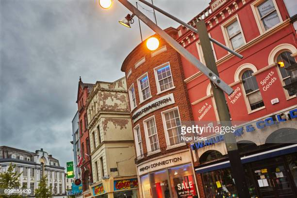 Buildings along St Patrick's Street, the main shopping district of downtown Cork, Ireland.