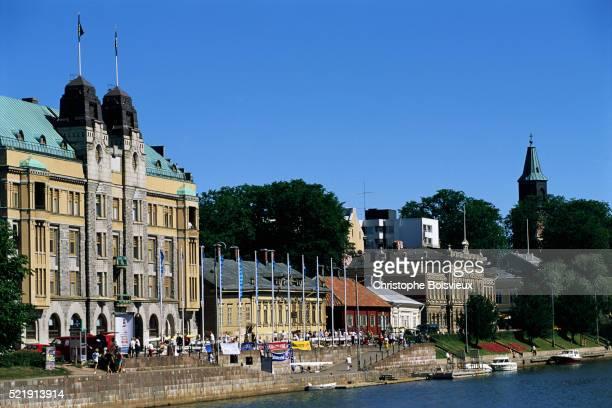 buildings along the aura river - turku finland stockfoto's en -beelden