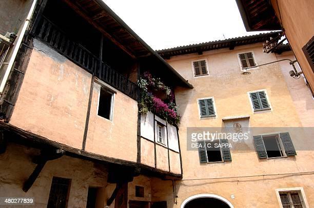 Buildings along the Costa del Vernato , medieval quarter in Piazzo, Biella, Piedmont, Italy.