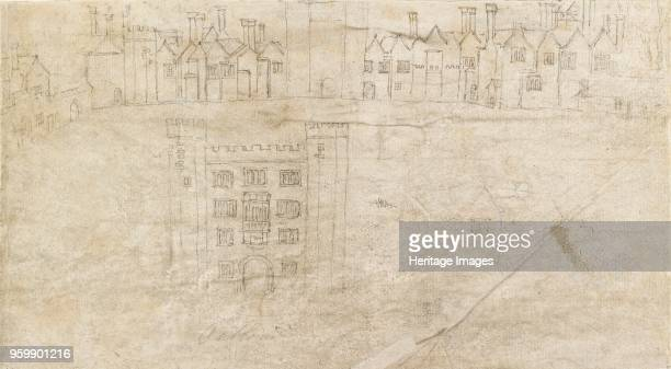 Buildings along the South front of Oatlands Palace, circa 1550s. Verso: Fountain and lower storey of Hampton Court Palace. Dimensions: height x...