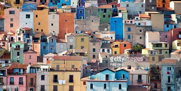 Buildings along waterfront, Bosa, Sardinia, Italy