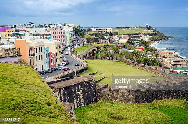 Buildings and El Morro in Old San Juan, Puerto Rico